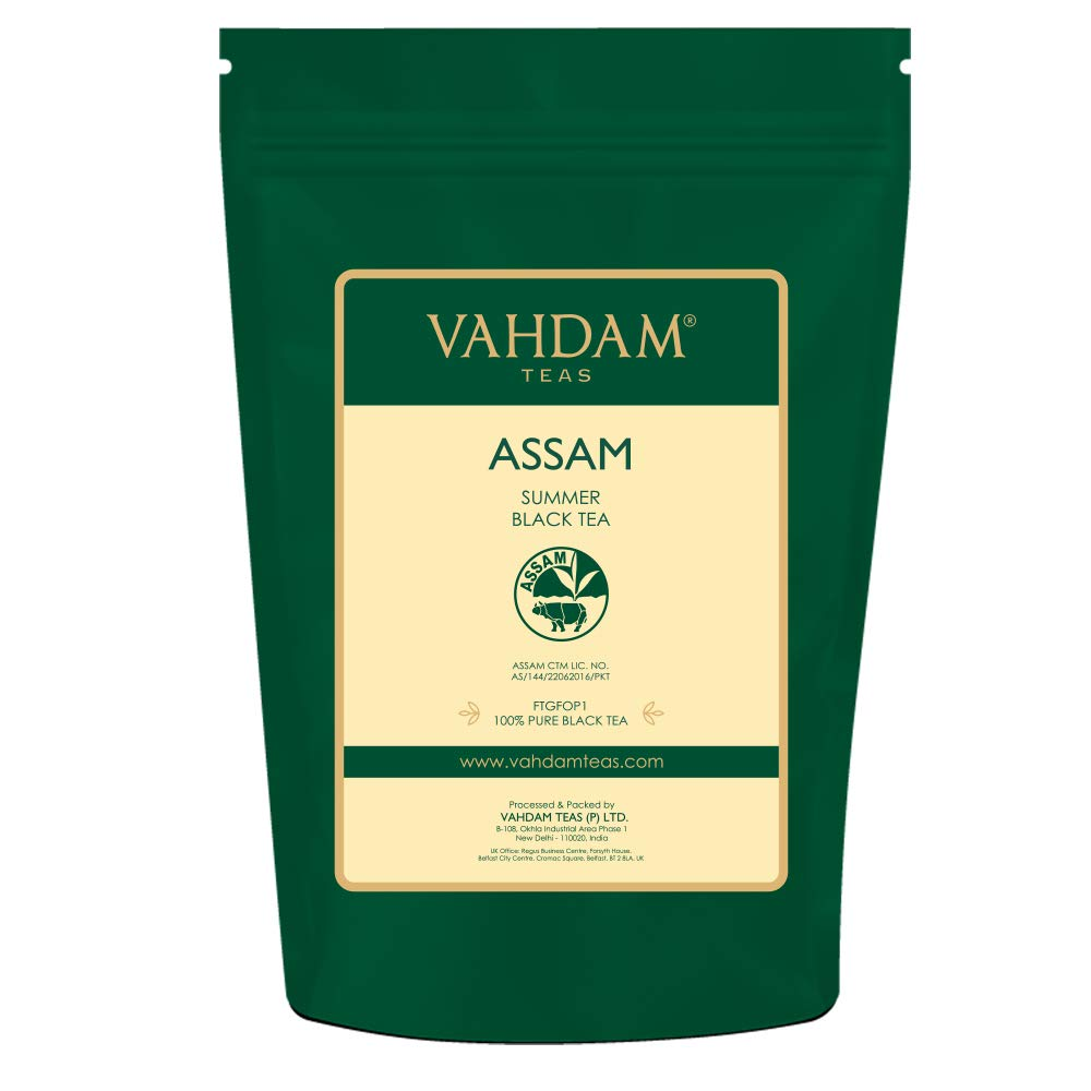 Assam Black Tea Leaves (200+ Cups), STRONG, MALTY & RICH, Loose Leaf Tea, 100% Pure Unblended, Single Origin Black Tea Loose Leaf, Brew Hot Tea, Iced Tea, Kombucha Tea, FTGFOP1 Long Leaf Grade, 16oz by VAHDAM