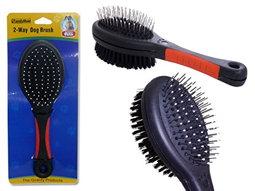 DOG 2-WAY BRUSH 8.5'' LONG BLACK +RED HANDLE , Case of 96 by DollarItemDirect