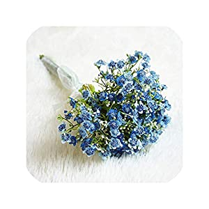 Artificial Flowers Gypsophila Handmade Baby's Breath Fake Plants for Wedding Home Fall Decoration Plastic Flowers Bouquet,Blue 118