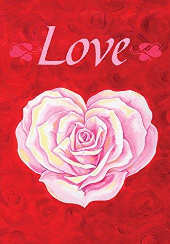 Toland Home Garden 112592 Heart Rose 12.5 x 18 Inch Decorative, Garden Flag-12.5