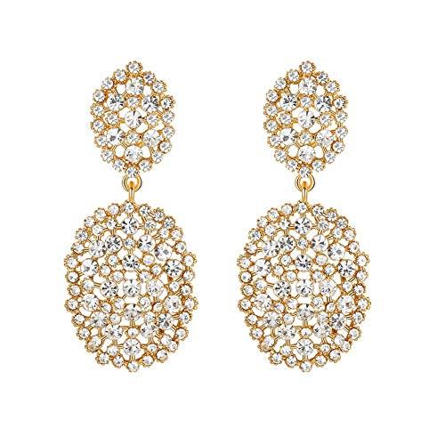 mecresh Gold Color Rhinestone Beads Dangle Drop Earrings for Women Bridesmaids