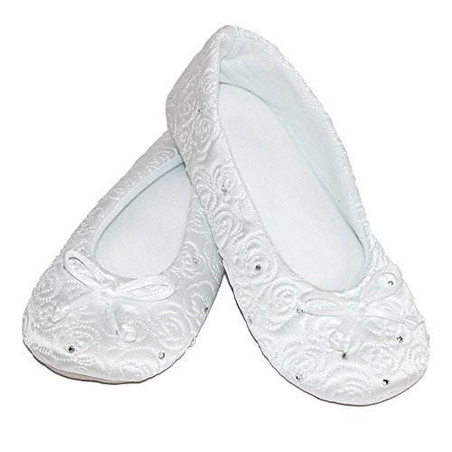 Ballerina Terry Quilted Lined White Rose Isotoner Women's Slippers BH1A7A