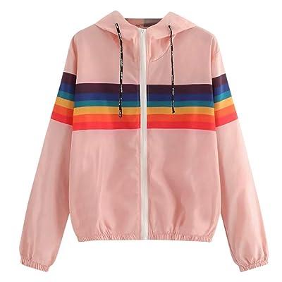 Womens Hoodies Windbreaker Teen Girl Rainbow Striped Lightweight Sports Hooded Jacket Coat with Zipper : Sports & Outdoors