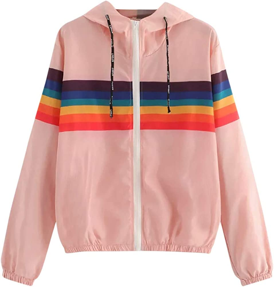 Womens Hooded Jacket Rainbow Print Long Sleeve Overcoat Sport Coat Blouse Pink, M-Bust-38.6