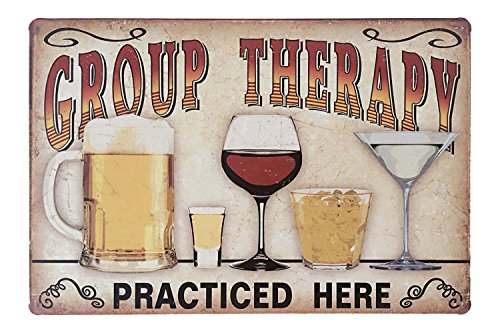 ERLOOD Retro Vintage Metal Tin Sign Wall Plaque Poster Cafe Bar Pub Beer Club Wall Home Decor Group Therapy Practiced Here 12 X 8 Inches ()