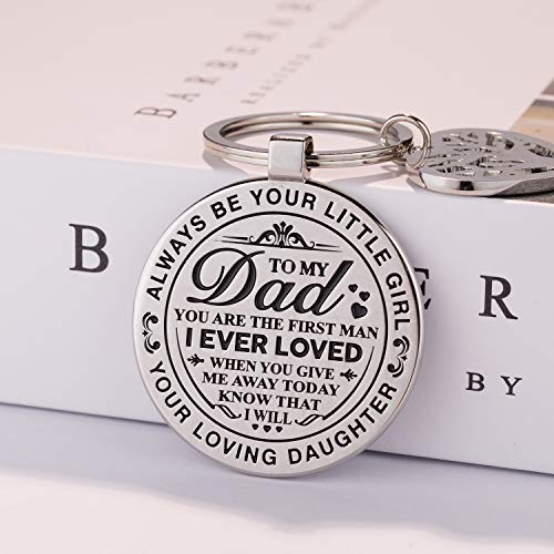 TERAVEX Dad Wedding Gifts Keychain Stainless Steel - Perfect Design for Dad, Father's Day Gifts - Daddy I Will Always Be Your Little Girl Key Chain for Dad of Bride - Keychain Gift Design