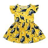 Wanshop Girls Dresses, Kids Baby Cute Cartoon Dinosaur Print Sun Short Sleeve Party Dress Clothes Toddler Summer Outfits (1-2 Years Old, Yellow)