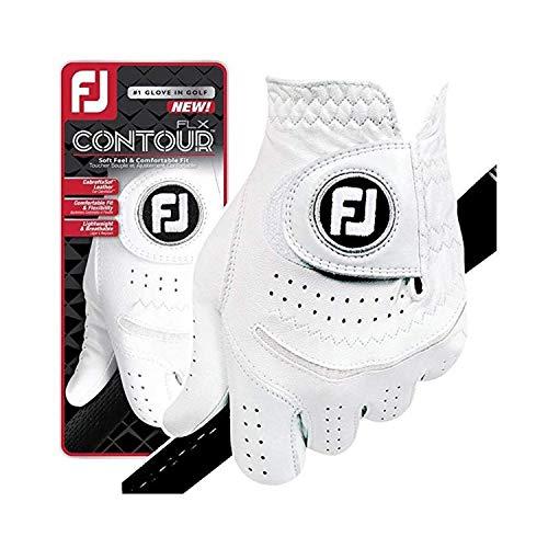 FootJoy New Contour FLX Flex Men's Premium Golf Glove w/CabrettaSof Leather #1 Glove in Golf (Cadet Medium 6 Pack-Master Carton, Worn on Left Hand)