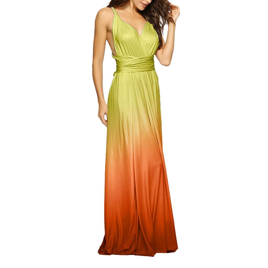 Women's Long Dresses ❀Vine_MINMI❀ Deep V-Dress Sling Dress with Open Back Skirt Dress Up Banquet Skirt Beach Cover Up Yellow by Vine_MINMI Dress