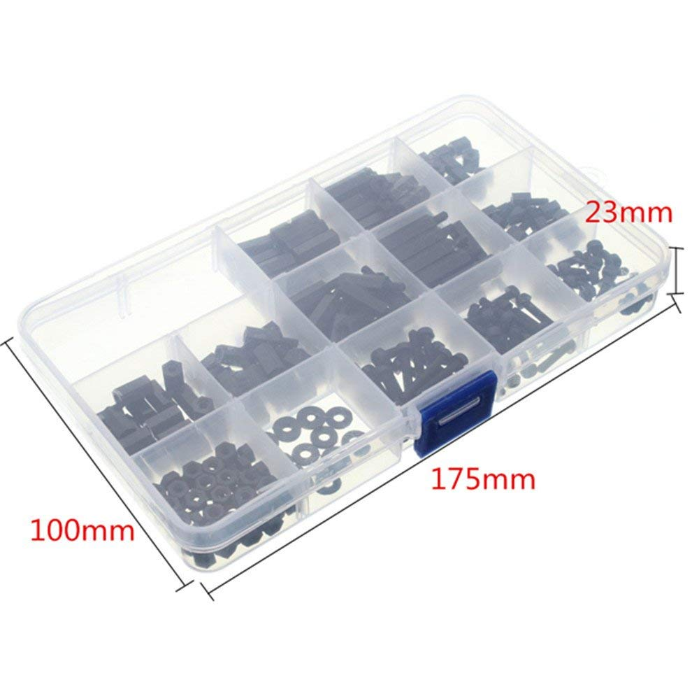 /Écrous M-F Stand-Off Drone avec bo/îte en Plastique Noir Bricolage Assortiment de 260 vis espaceurs hexagonaux M3 en Nylon Circuits imprim/és pour Ordinateurs /électroniques