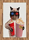 Ambesonne Movie Theater Area Rug, Cat with Popcorn and Drink Watching Movie Glasses Entertainment Cinema Fun, Flat Woven Accent Rug for Living Room Bedroom Dining Room, 4 X 5.7 FT, Multicolor
