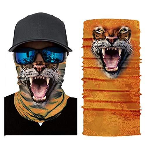 3D Fishing Face Sun Mask,Headwear,Head Wrap,Neck,Gaiter,Scarf,Tube Mask,Bandana Mask,Balaclava,Sport Hair Bands,Guys Headband for Running Hiking Cycling Motorcycling Riding (Orange Typhon Tiger) ()