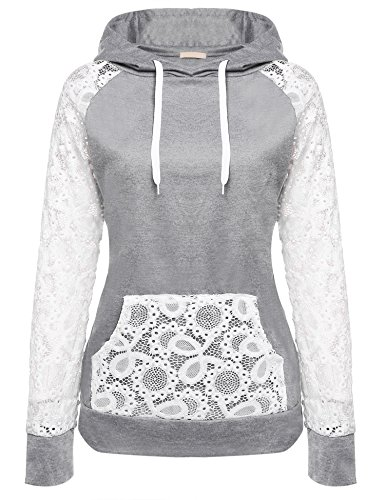 Lace Hooded (BeautyUU Women Sheer Lace Long Sleeve Hooded Pullover Floral Sweatshirt Hoodie With Pockets, Gray, X-Large)