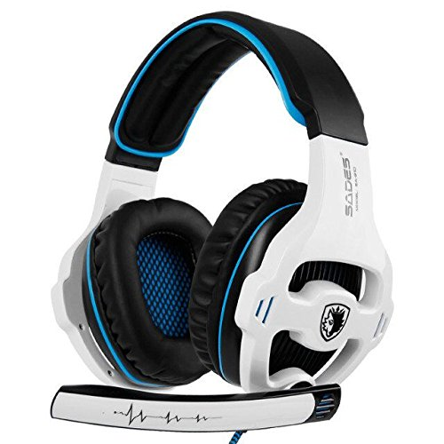 GW SADES Newly SA810 Over Ear Stereo Bass Gaming Headset Headphones with Noise Isolation Microphone for New Xbox One PC PS4 Laptop Phone (White)
