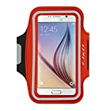 Galaxy S6 Armband, J&D Sports Armband for Samsung Galaxy S6, Key holder Slot, Perfect Earphone Connection while Workout Running (Red)