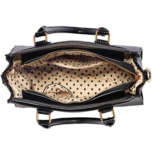 Traje de neopreno para mujer New para el hombro bolsa grande para mujer bolsos funda rígida con diseño de estampado de tamaño grande del famoso británico de piel sintética bolsa aislante para C - Black