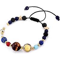 ColorJoy Pulseras de perlas Pulseras hechas a mano del sistema solar de la galaxia Universo Nueve planetas Cuentas de piedras naturales con cuentas Brazalete 7 para hombre y mujer