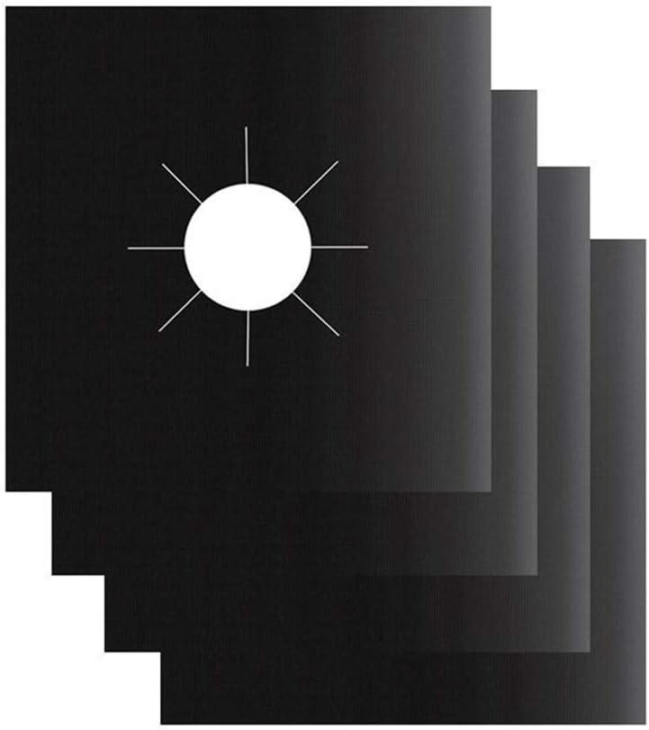 JUNESUN 4 PCS R/éutilisable en Aluminium Feuille Cuisini/ère /À Gaz Br/ûleur Couvercle Protecteur Doublure Clean Mat Pad File Blessures Protection
