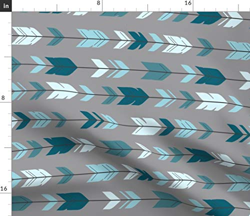 (Spoonflower Rotated Fabric - Arrow Feathers Teal Gray Woodland by Sugarpinedesign Printed on Minky Fabric by The Yard )
