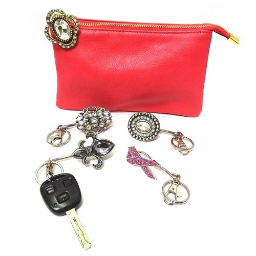 Purse Key Finder - Keychain, Beautiful Large Czech Stone Accents Various Styles
