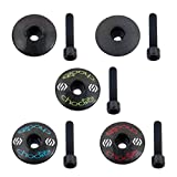 Choose 3k Carbon Fiber Headset Top Cap & CNC Alloy 7075 Headset Bolts Black