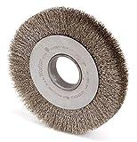 8'' Crimped Wire Wheel Brush, Arbor Hole Mounting, 0.012'' Wire Dia, 1-3/8'' Bristle Trim Length, 1 EA