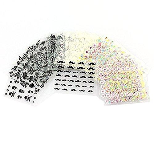 Pixnor 50 fogli di misto-colore 3D Design punta autoadesivi Nail Art Stickers adesivi Nail Tips decorazioni (modello di colore casuale)