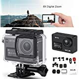 SJCAM SJ8 PRO Action Camera, 4k/60fps Sports Cam with Ambarella H22 Sensor, EIS, 170°Wide-angle Lens, 2.33 Touchscreen, 1200mAH Battery for Underwater, Outdoor Activity (Waterproof Case Included)