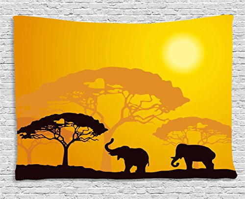 Ambesonne Safari Tapestry, African Wildlife Animals Elephants Sun Beams Trees Print Art, Wall Hanging for Bedroom Living Room Dorm, 60 W X 40 L Inches, Yellow Brown