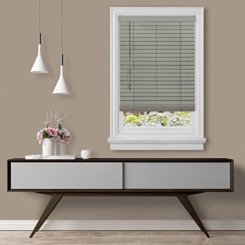 Achim Home Furnishings Cordless GII Madera Falsa 2″ Faux Wood Plantation Blind 30″ x 64″, Grey