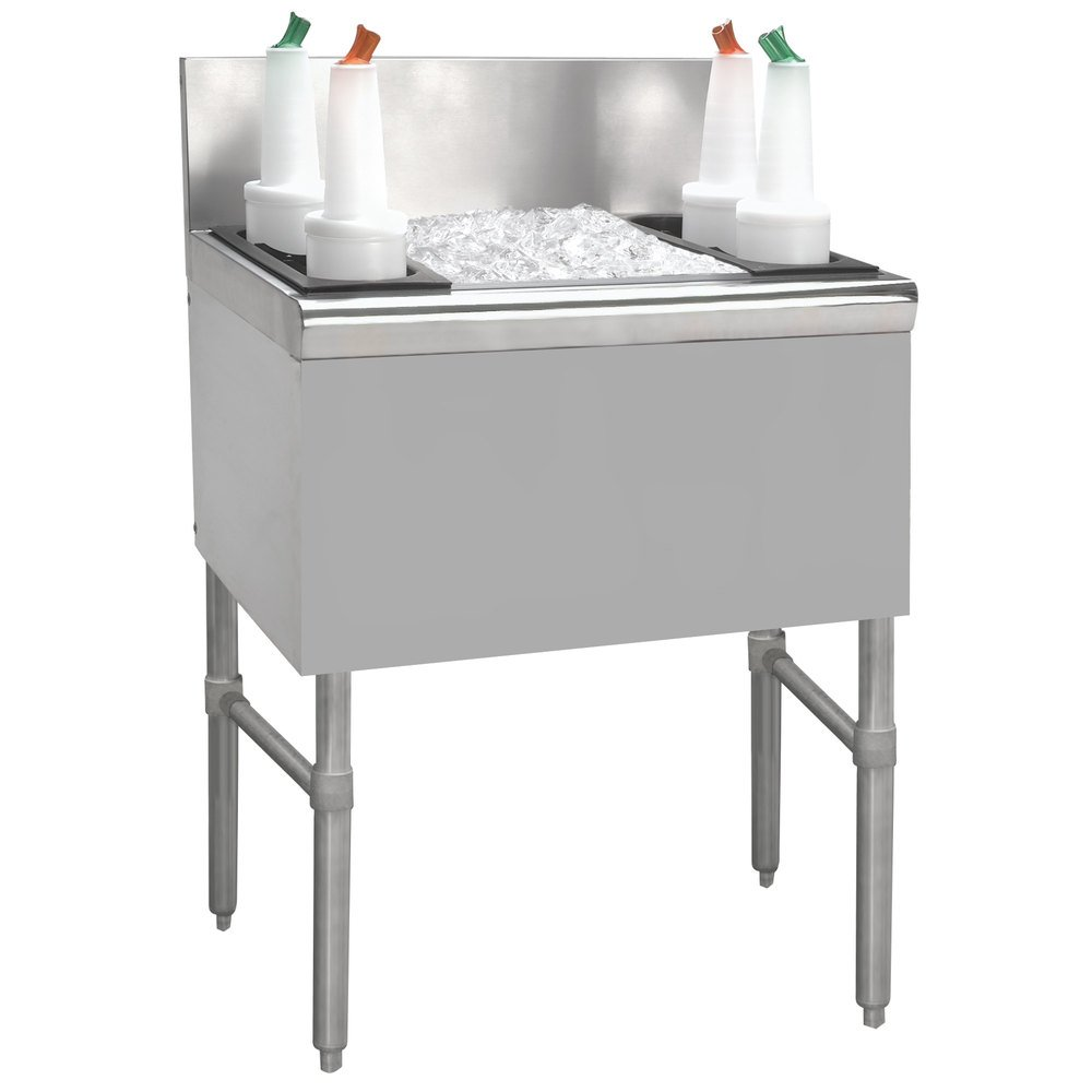 Advance Tabco PRI-24-36-10-XD Prestige Series Stainless Steel Underbar Ice Bin with 10-Circuit Cold Plate - 25'' x 36''