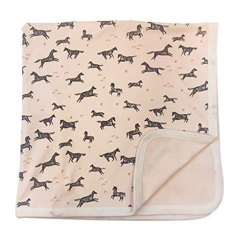 - Finn + Emma Reversible Organic Cotton Blanket for Baby Boy or Girl - Wild Horses