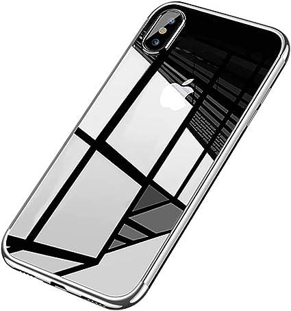 Coque iPhone X,Coque iPhone XS,Surakey Chrome Placage Bumper Transparente TPU Silicone Housse Etui de Protection Bumper et Anti-Scratch Téléphone ...
