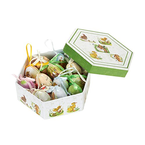 Hanging Mini Easter Egg Ornaments Decorations - Multicolor Bunny and Duckling Designs, Shabby Chic Designs for Home Decor Multicolor, Green Box, Small Eggs , 12 Pack
