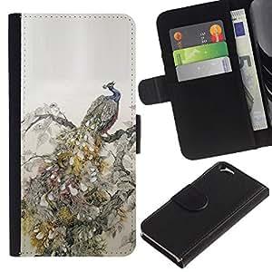 KLONGSHOP // Tirón de la caja Cartera de cuero con ranuras para tarjetas - Plumas de aves Vintage Wallpaper - Apple Iphone 6 //