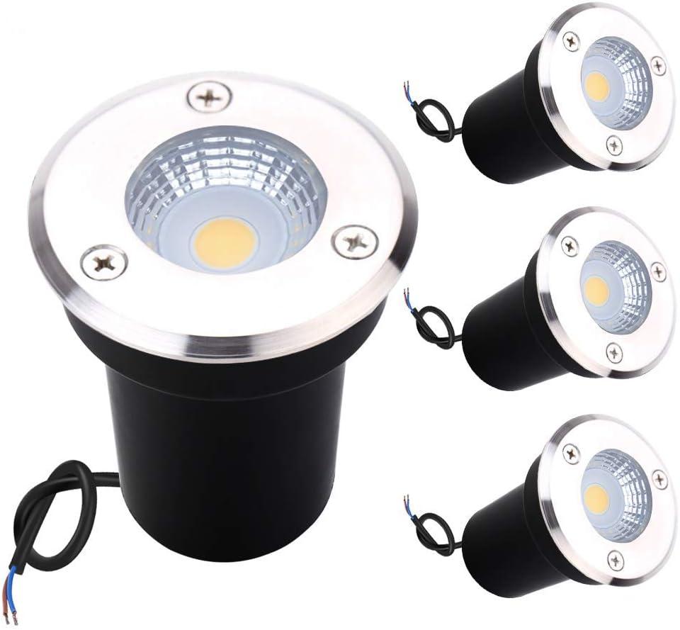 Luces de tierra de 4*3 W, luz de suelo enterrada, luces de suelo LED Greenclick COB de bajo voltaje para exteriores 24 V empotradas en luz de suelo con bajo voltaje IP67 césped, estanque, caminos
