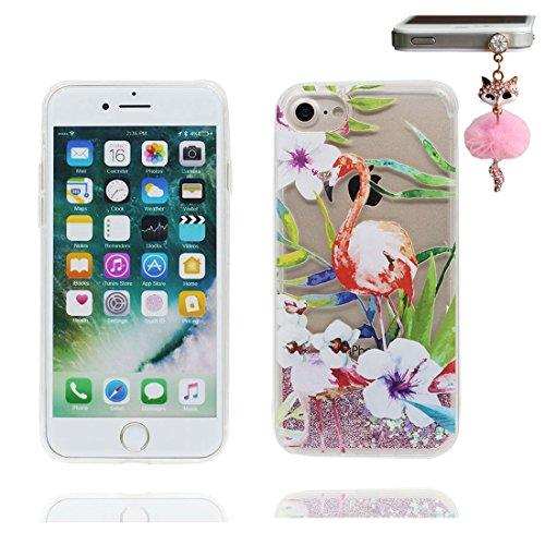"""iPhone 7 Plus Coque, iPhone 7 Plus étui Cover 5.5"""", Bling Bling Glitter Fluide Liquide Sparkles Sables, iPhone 7 Plus Case, Flamant anti- chocs et Bouchon anti-poussière"""