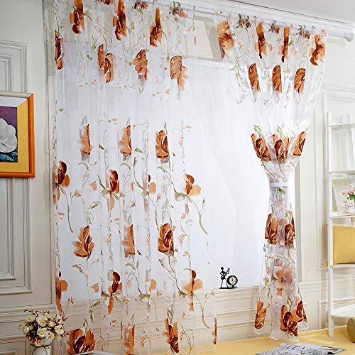 Fresh Floral Print Tulle Voile Door Window Rom Curtain Drape Panel Sheer Scarf Valances (6.6x3.3 ft)