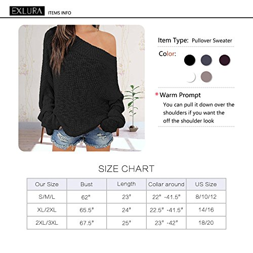 7f47282cb31532 Exlura Women s Off Shoulder Sweater Batwing Sleeve Loose Oversized Pullover  Knit Jumper