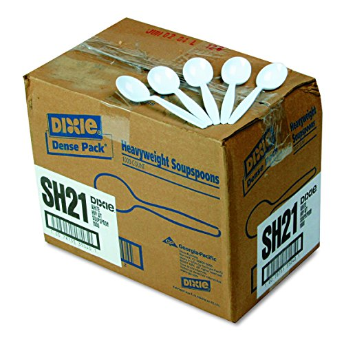 """Dixie SH217 Heavy Weight Polystyrene Soup Spoon, 5.75"""" Length, White (Case of 1,000)"""