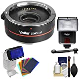 Vivitar Series 1 2X 4 Elements Teleconverter with Flash + 12 Color Gels + Cleaning Kit for Canon EOS Digital SLR Cameras