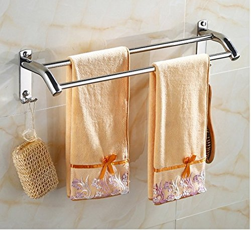 LVLIDAN Contemporary Towel bar Washroom rails stainless steel Double layer hooks wall mounted 500140130mm by LVLIDAN Towel Rail