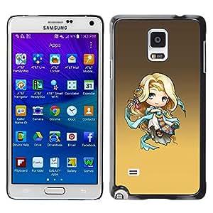 TopCaseStore / la caja del caucho duro de la cubierta de protección de la piel - Cute Fantasy Princess - Samsung Galaxy Note 4 SM-N910