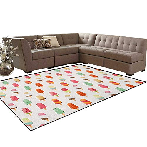 Ice Cream,Rug,Watermelon Kiwi Orange Cherry and Chocolate Flavor Ice Cream Icon Illustration,Perfect for Any Room Floor Carpet,Multicolor Size:6'x9'