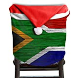 Wooden Folding Chairs South Africa EDYE South Africa Wooden Texture South African Flag Christmas Xmas Themed Dinning Seat Chair Cap Hat Covers Ornaments for Backers Slipcovers Wraps Coverings Decorations Protector Set