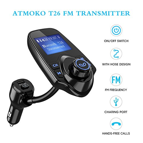 FM Transmitter, Atmoko Wireless Bluetooth FM Transmitter/USB Charger, with ON/OFF Switch, 3.5mm Audio Input Port, TF Card Slot, USB Flash Drive Port, Display Car Voltage, Incoming Phone Number