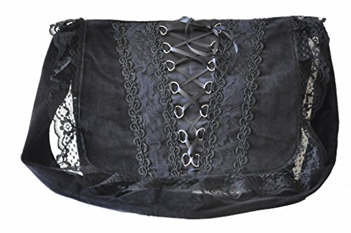 Vintage Victorian Gothic Costume Vamp College Punk Bag Shoulder Black Girls Renaissance Black xOIFadIq