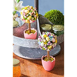 Cypress Home Potted Easter Egg Artificial Topiaries, Set of 2 2