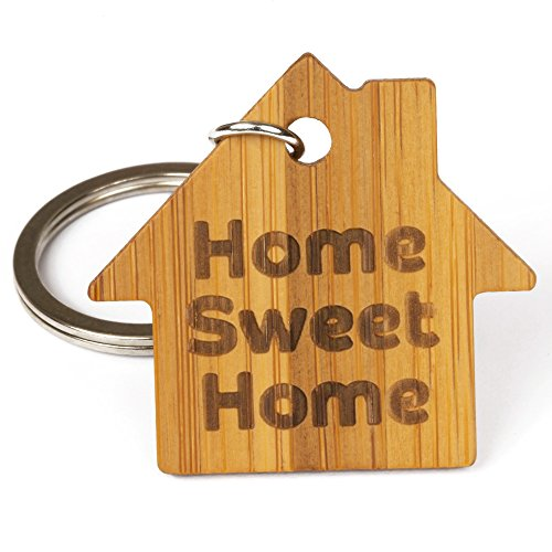 Home Sweet Home Eco-friendly Bamboo Wooden Keychain Keyring - Ideal New Home Gift, Car Keys, House Keys