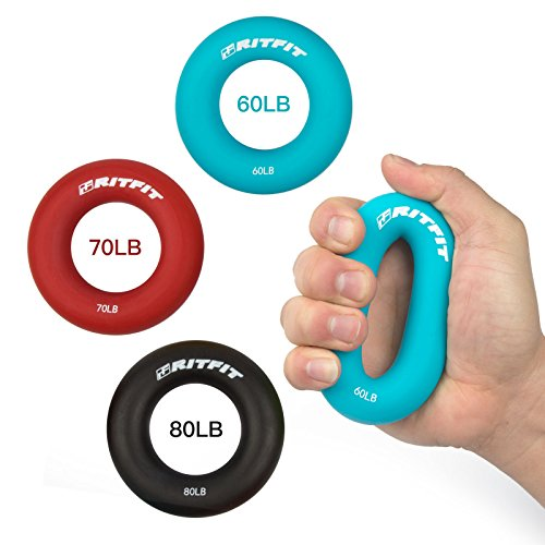 Hand Grip Strengthener Rings,A Forearm Wrist & Finger Exerciser,Life Time Warranty!Perfect Trainer for Rock Climbing, Athletes & Musicians Stress Relief & Rehabilitation,Set of 3 Resistance Levels